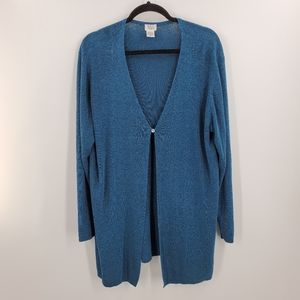 Eileen Fisher One Button Cardigan Sweater Teal 2X